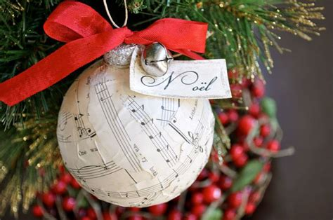 10 beautiful sheet music christmas ornaments you can make