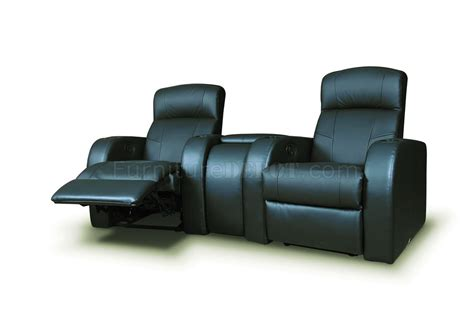 home theatre recliner cyrus home theater 600001 in black leatherette by coaster