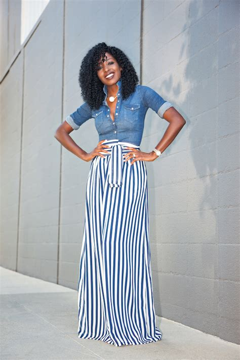 fitted denim shirt striped maxi skirt style pantry
