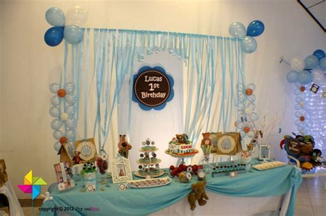 backdrop cakecandy table   teddy bear themed birthday party alekye  bday ideas