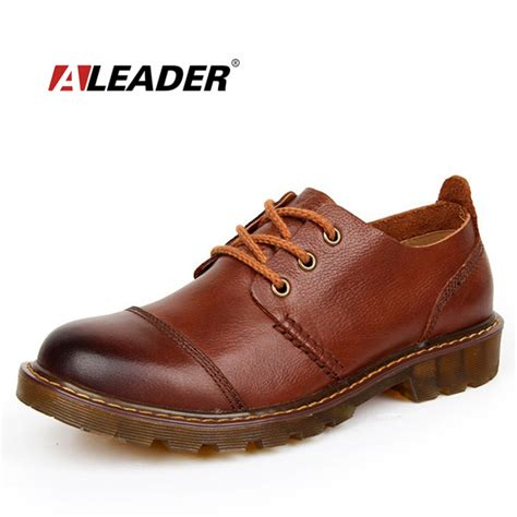 mens casual leather shoes aliexpress buy aleader leather shoes casual new