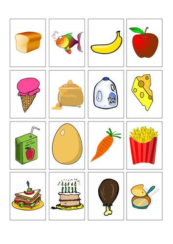 Gift Card Food - types of food cards by racheljob teaching resources tes