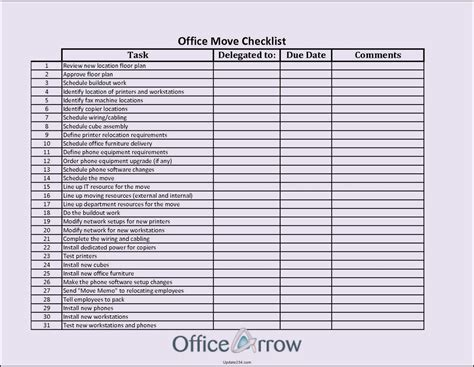 office move checklist template excel template update234
