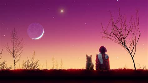 hd hintergrundbilder himmel mond rosa katze maedchen
