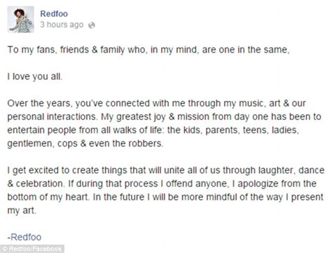 Emotional Apology Letter To Redfoo Posts Emotional Open Letter To Fans For Any Offence Caused By His Daily Mail