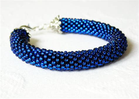 Blue Bracelet monaco blue bracelet beaded crochet made to order