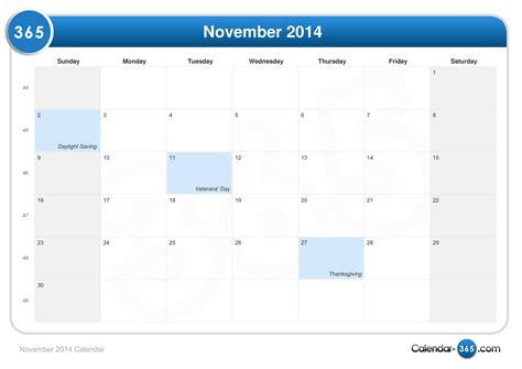 2014 November Calendar November 2014 Calendar
