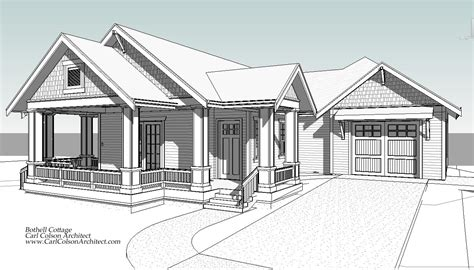 drawing of a house with garage adu cottage creating the design drawings carl colson