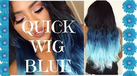 white and blue hair extensions wig with blue ombre hair
