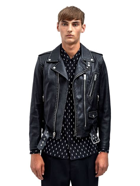 mens leather biker jacket lyst saint laurent mens studded leather biker jacket in