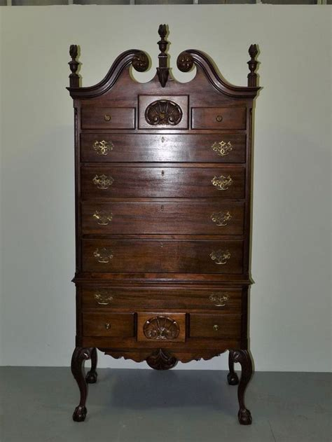 Antique Mahogany Highboy Dresser by Vintage Chippendale Style Richly Carved Solid Mahogany