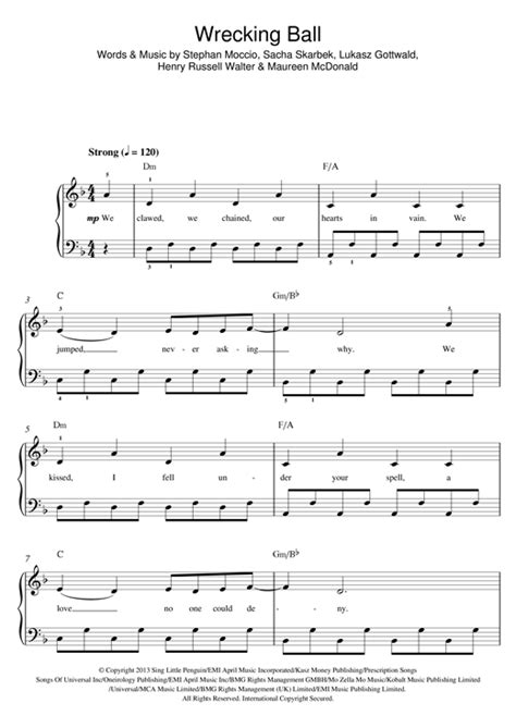tutorial piano wrecking ball wrecking ball sheet music by miley cyrus beginner piano