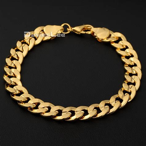 9mm hammered curb cuban 18k yellow gold filled bracelet