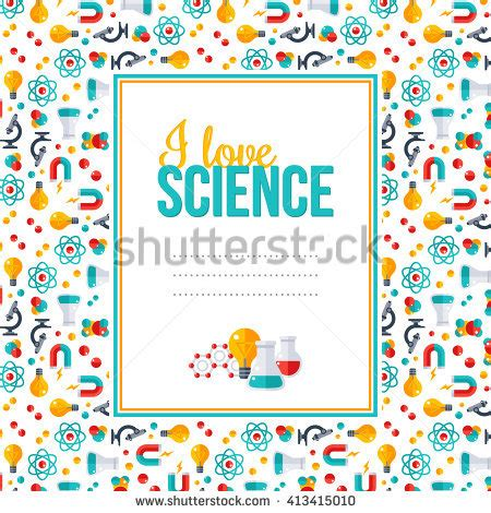 design frame research i love science pattern with square frame vector