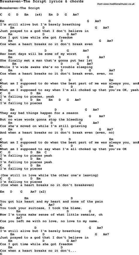 the script song love song lyrics for breakeven the script with chords