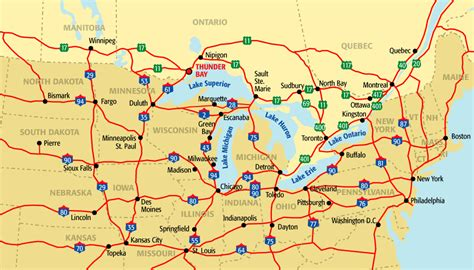 driving map of usa and canada road map of northern united states and canada