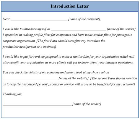 Introduction Letter Format To Company Letter Template For Introduction Format Of Introduction Letter Sle Templates