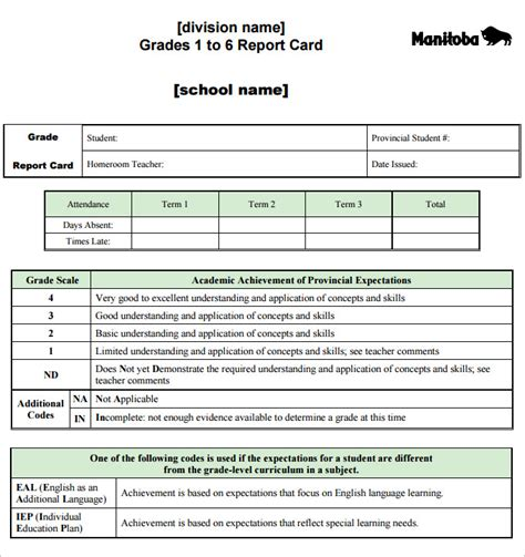 free report card template pdf report card template 28 free word excel pdf documents