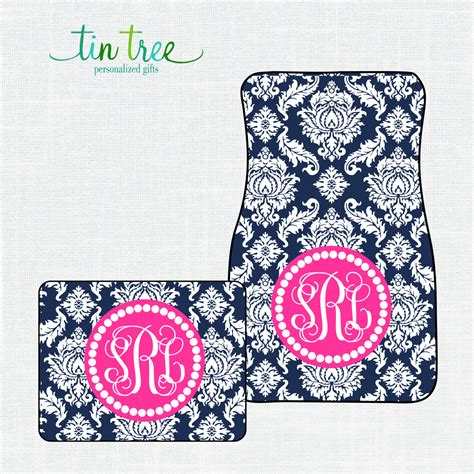 personalized car floor mats damask custom monogram car