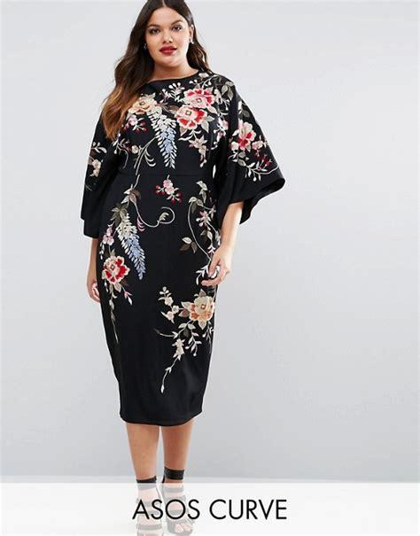 Kimono Cur asos curve asos curve embroidered kimono midi dress