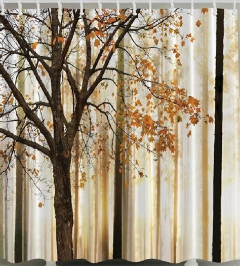 tree shower curtain chocolate fall trees falling leaves fabric shower curtain autumn