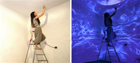 glow in the paint without blacklight artist paints rooms with murals that glow blacklight