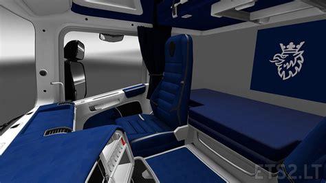 interior blue scania rjl white blue interior ets 2 mods