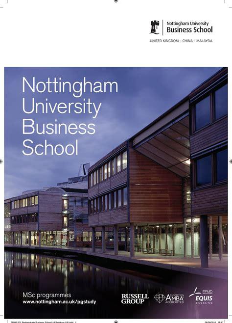 Of Nottingham Mba by Nottingham Business School Msc Brochure 2017 18