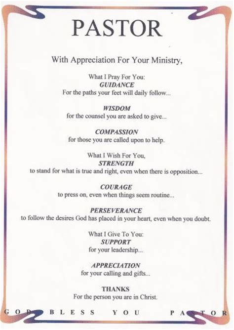thank you letter to youth pastor for pastor appreciation poems or pastor
