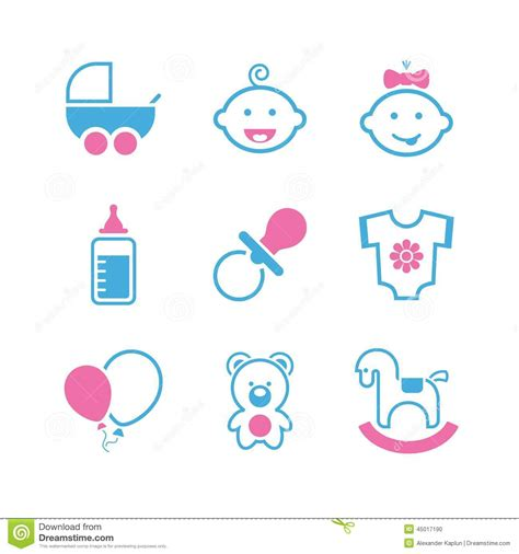 Baby simple vector icon set stock vector image 45017190