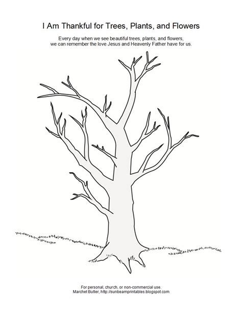 coloring pages trees plants and flowers thankful tree coloring page