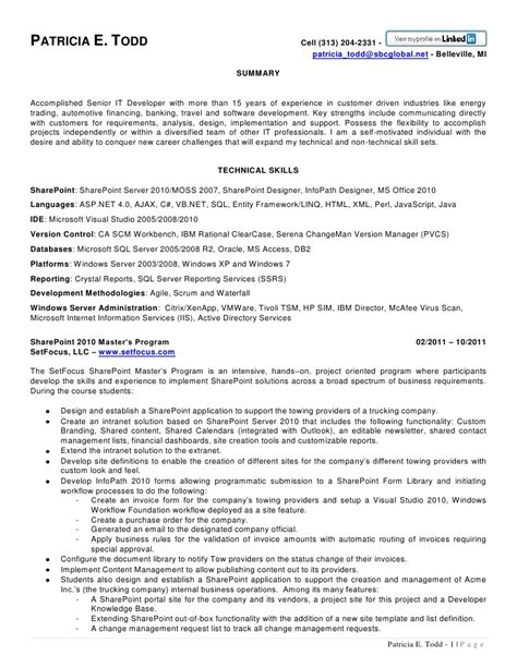 sle resume for sharepoint developer sharepoint developer resume resume format 28 images