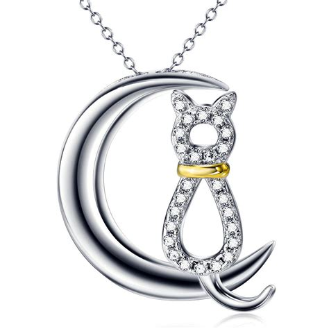 Moon And Cat Necklace moon cat necklace in sterling silver evermarker