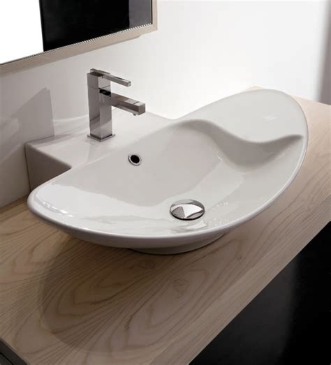 contemporary bathroom sink stylish oval shaped white ceramic vessel sink
