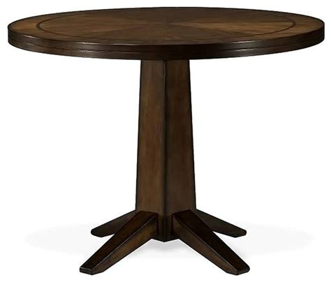 48 inch pedestal table in wood veneer transitional