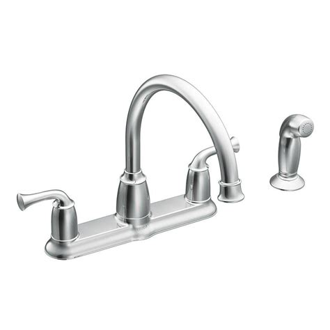 moen kitchen faucet handle moen banbury 2 handle mid arc standard kitchen faucet with side sprayer in chrome ca87553 the