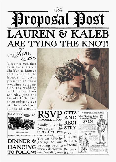 Vintage 1920s Inspired Newspaper Wedding Invitation Suite Quot The Proposal Post Quot Printable Newspaper Wedding Announcement Template