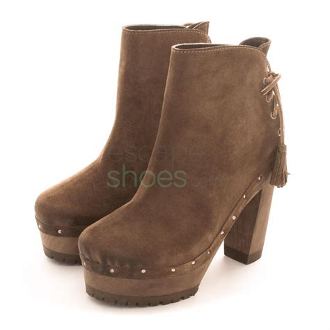 ankle boots xuz high heel with laces brown 25627 cs
