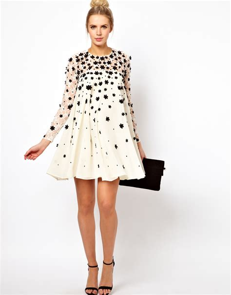 Swing Dresses by Lyst Asos Swing Dress With Floral Applique In