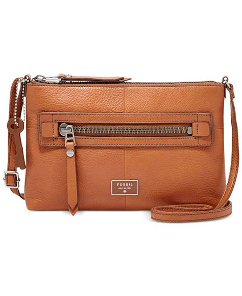 Fossil Crossbody Model 705b lyst fossil dawson leather crossbody in brown