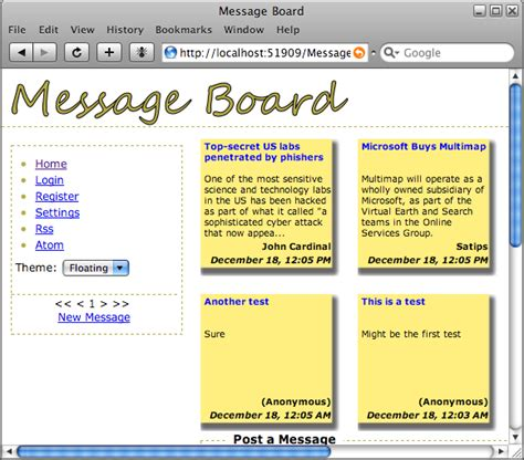 building a web message board using visual studio 2008