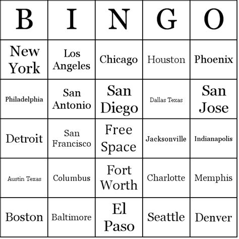 make a bingo card with words list of u s cities by population bingo cards