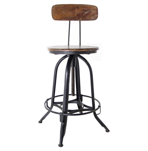 vintage metal stools with back vintage industrial swivel bar stool with back wood and