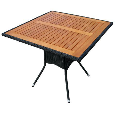 Gartentisch Quadratisch Holz by Gartentisch Balkontisch Aus Polyrattan Tischplatte Holz