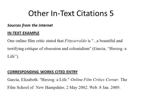 Film Mla In Text Citation | mla works cited in text citations ppt video online