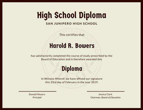 Customize 325 High School Diploma Certificate Templates Online Canva High School Graduation Certificate Template
