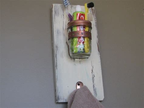 shabby chic wall toothbrush holder or vase with key hook