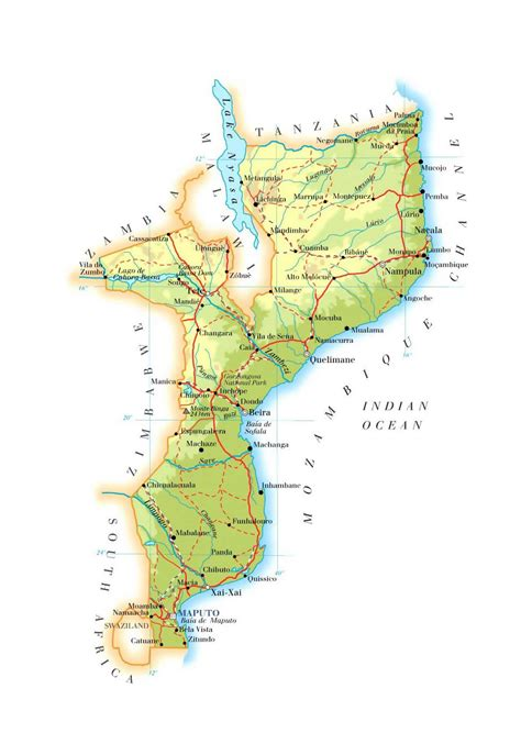 map of mozambique cities detailed elevation map of mozambique with roads railroads