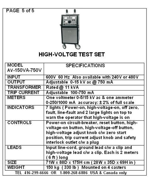 high voltage ontario high voltage and high current testers criterion