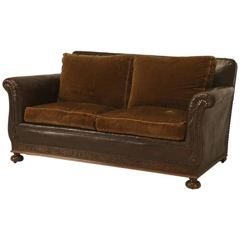 leather settee for sale antique french leather and velvet settee from the 1930s